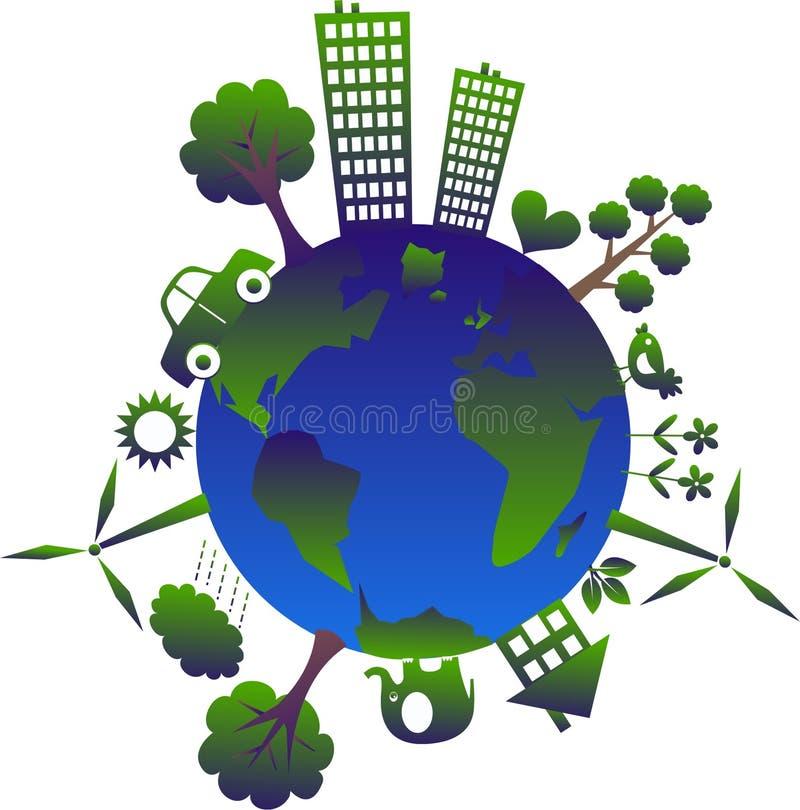 зеленая планета иллюстрация штока