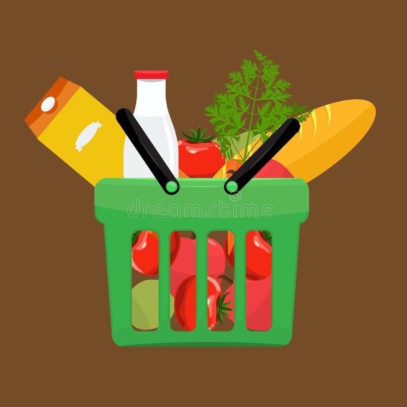 Зеленая пластичная корзина для товаров вполне продуктов бакалей Гастроном иллюстрация вектора