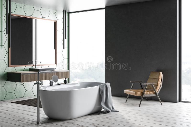 Зеленая плитка и серые bathroom, ушат и раковина иллюстрация штока