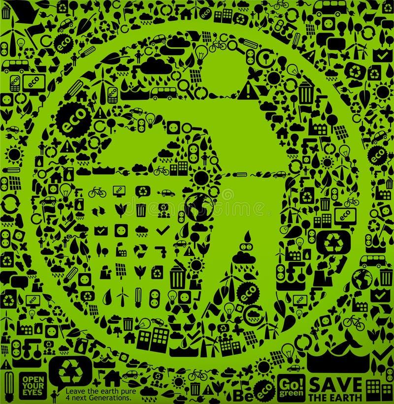 зеленая погань символа иллюстрация штока
