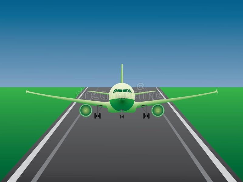 Зеленая посадка самолета двигателя на взлётно-посадочная дорожка авиапорта для дела авиакомпании бесплатная иллюстрация