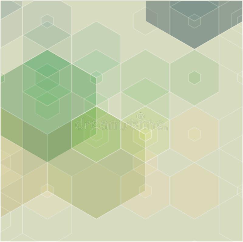Зеленая предпосылка мозаики решетки, творческие шаблоны дизайна иллюстрация вектора