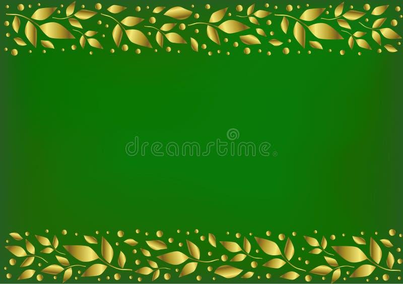 Зеленая предпосылка стилизованная как бархат с декоративными нашивками выравнивает верхнее и внизу с золотыми листьями и точками иллюстрация штока