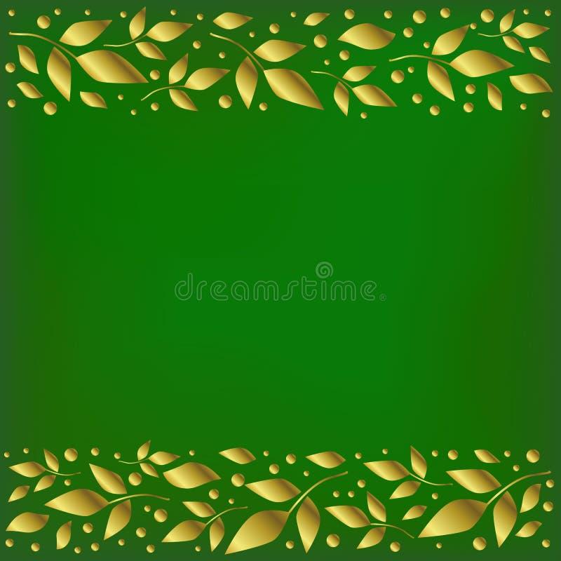 Зеленая предпосылка стилизованная как бархат с декоративными нашивками выравнивает верхнее и внизу с золотыми листьями и точками иллюстрация вектора