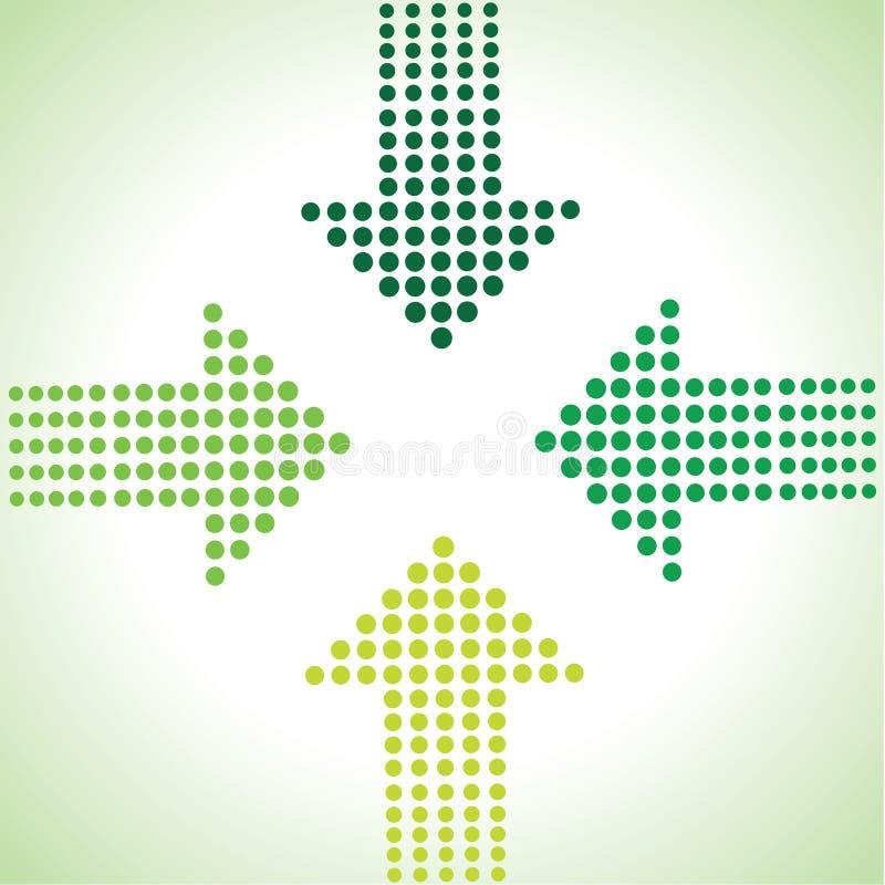 Зеленая предпосылка стрелки иллюстрация штока