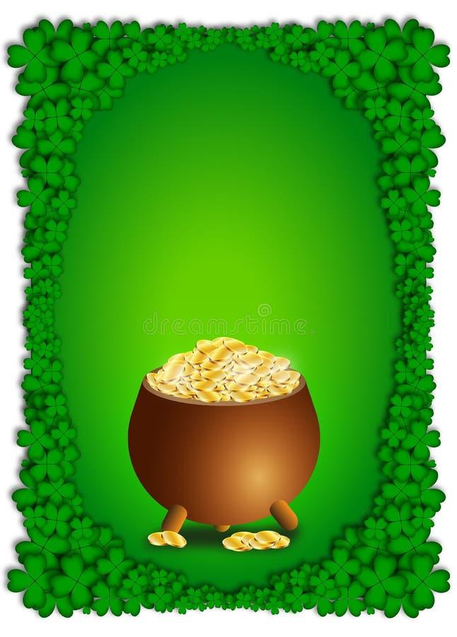 Зеленая предпосылка с баком вполне золотых монет на день St. Patrick иллюстрация вектора