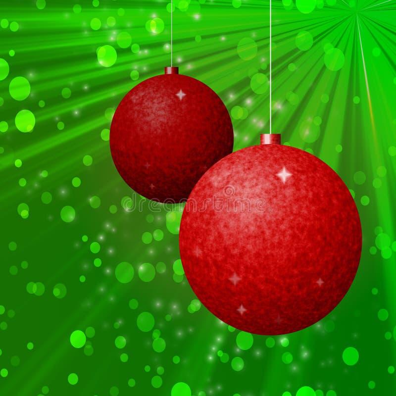 Зеленая предпосылка с 2 красными шариками рождества иллюстрация вектора