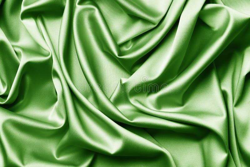 Зеленая предпосылка текстуры шелка или сатинировки стоковая фотография rf