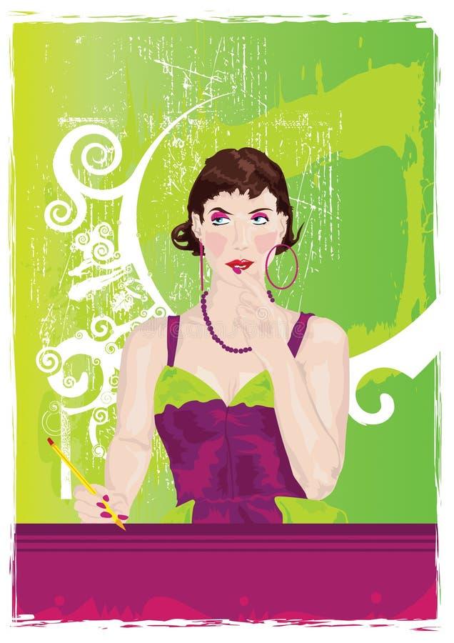 зеленая ретро женщина иллюстрация штока