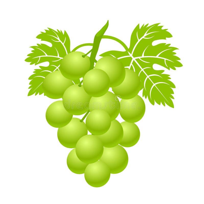 Зеленая связка винограда с листьями Значок сладостной ягоды простой плоский - вектор иллюстрация штока