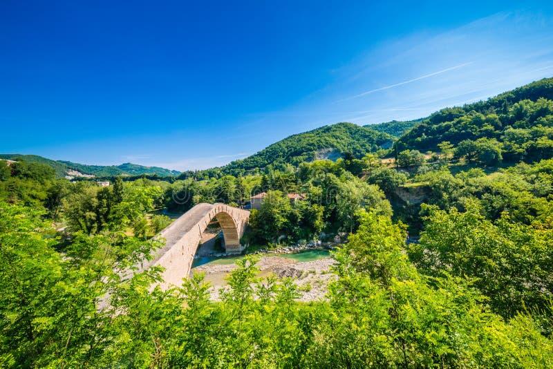 Зеленая сельская местность вокруг старого моста стоковое изображение