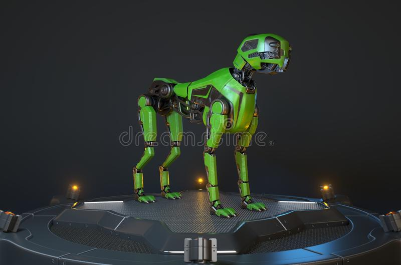 Зеленая собака робота стоит на поручая доке иллюстрация вектора