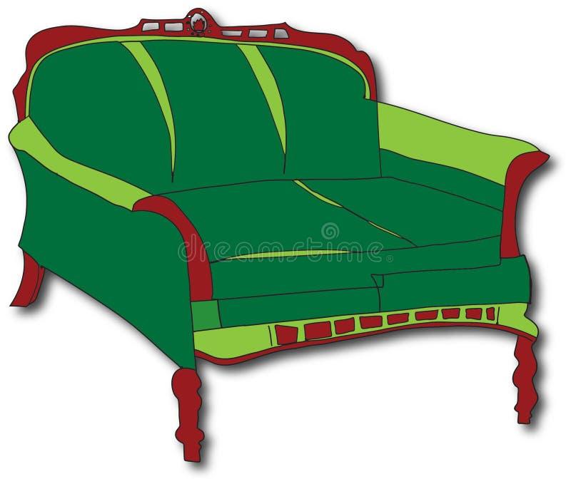 зеленая софа иллюстрация штока