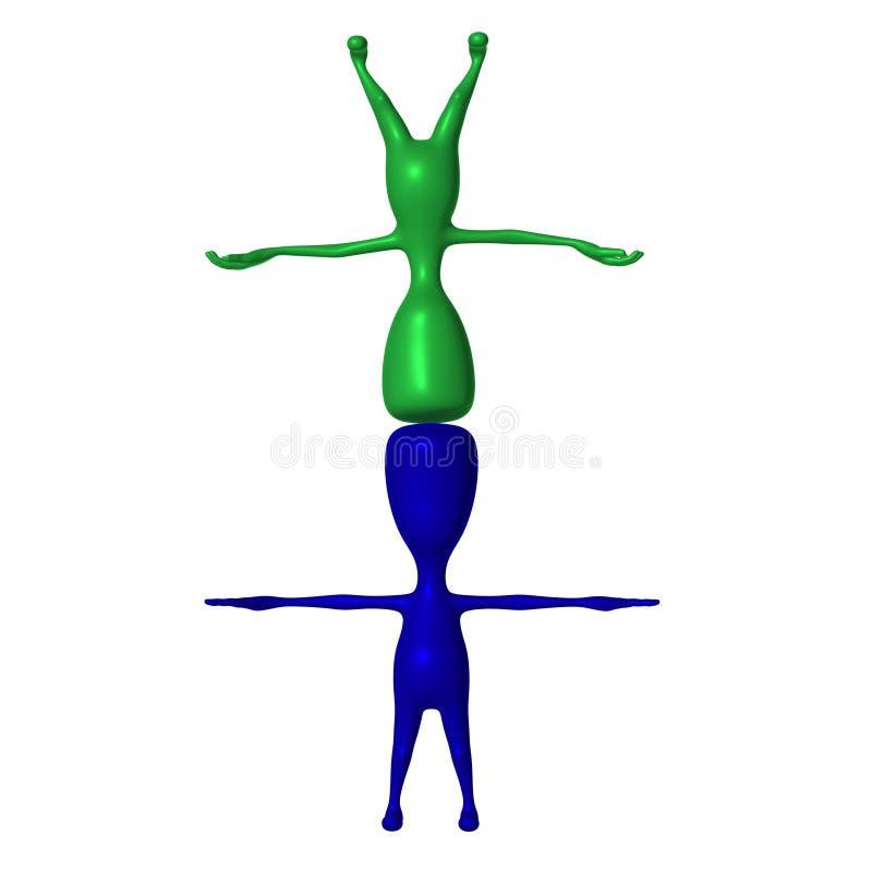 Зеленая стойка марионетки 3d на сини бесплатная иллюстрация