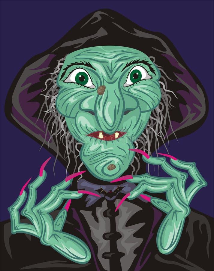 Зеленая сторона ведьмы иллюстрация вектора