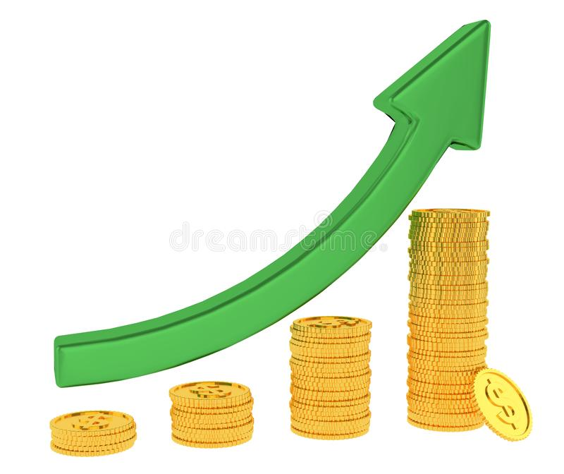 Зеленая стрелка вверх и диаграмма диаграммы в виде вертикальных полос золотых монеток доллара изолированных на белой предпосылке  иллюстрация вектора