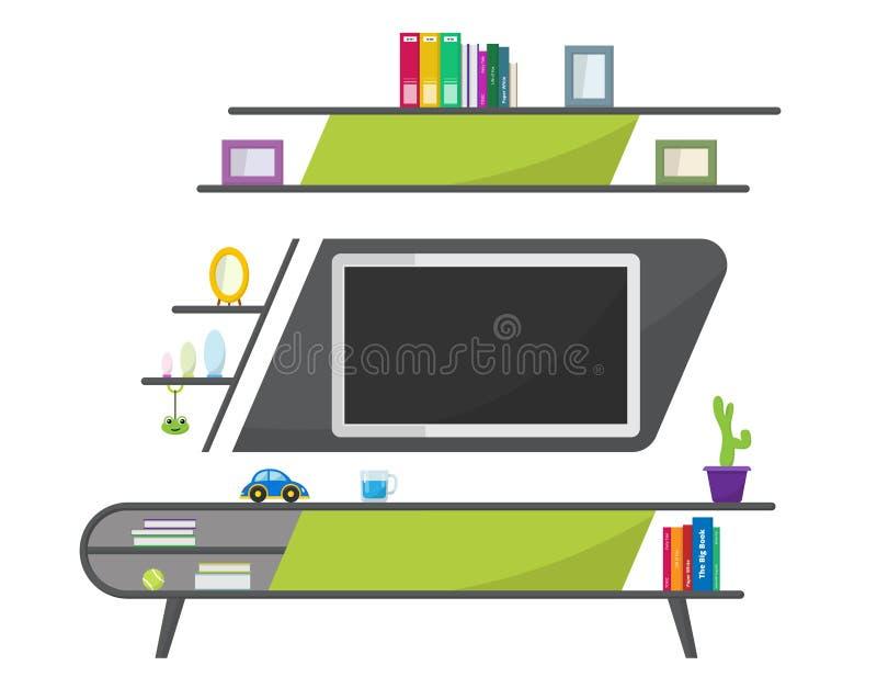 Зеленая таблица ТВ с декоративными объектами мебели Современный интерьер живущей комнаты мебель самомоднейшая бесплатная иллюстрация