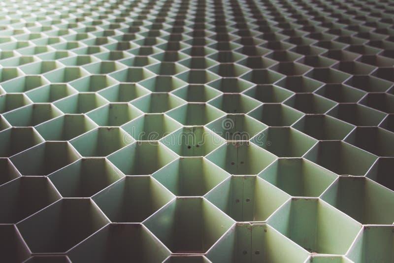 Зеленая форма стали шестиугольника стоковое фото rf