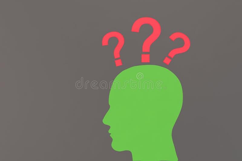 Зеленая человеческая голова с вопросительными знаками бесплатная иллюстрация