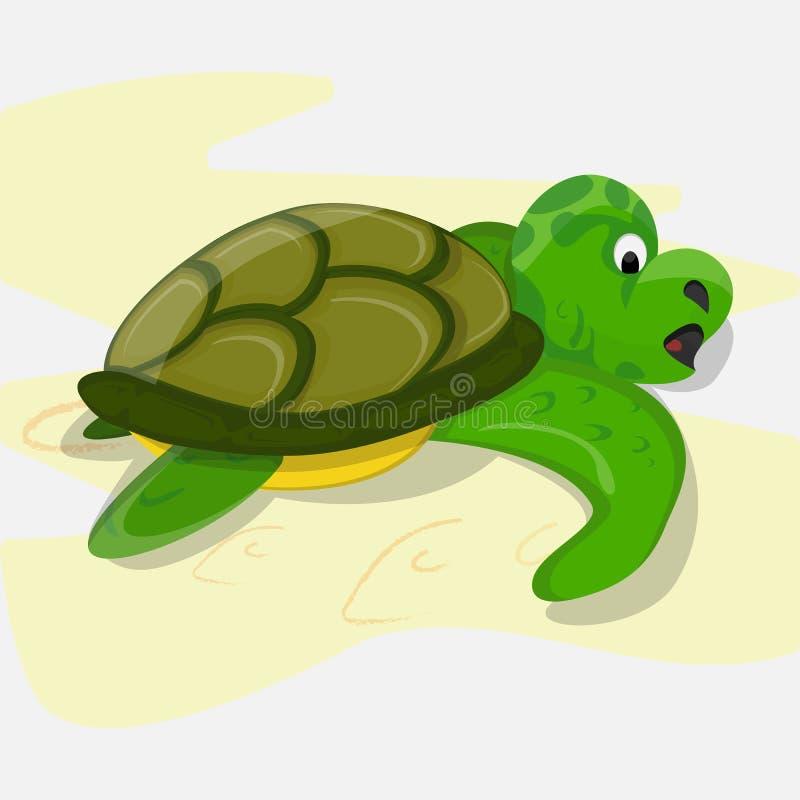 Зеленая черепаха в stile шаржа стоковые изображения