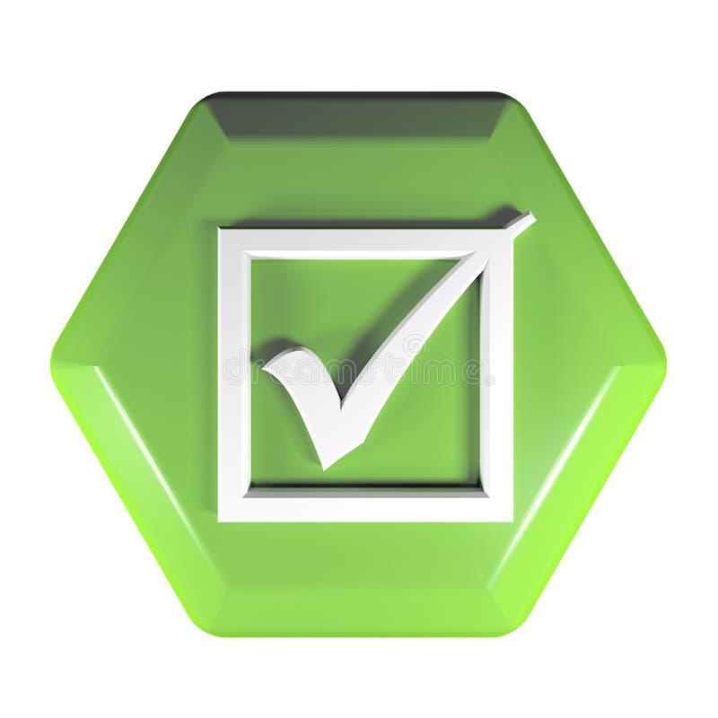 Зеленая шестиугольная кнопка со значком проверенной коробки - иллюстрацией перевода 3D иллюстрация вектора