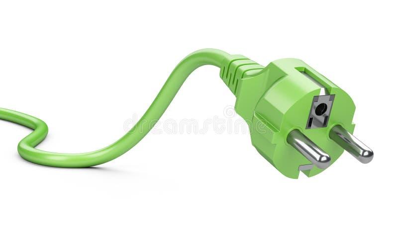 Зеленая электрическая штепсельная вилка с проводом Концепция экологической энергии Eco иллюстрация вектора