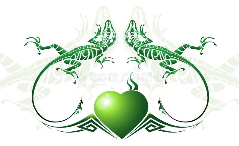 зеленая ящерица стилизованная иллюстрация штока