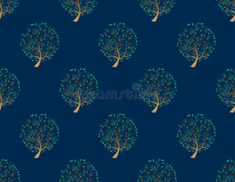 Зеленое дерево безшовное на предпосылке сини индиго также вектор иллюстрации притяжки corel иллюстрация штока