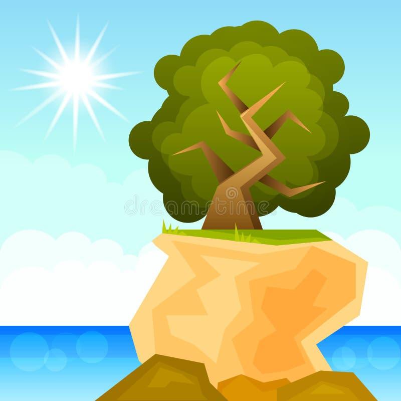 Зеленое дерево растя на векторе утеса бесплатная иллюстрация