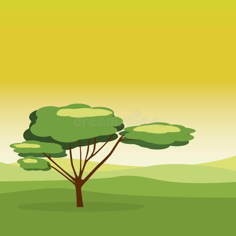 Зеленое дерево с ландшафтом пущи бесплатная иллюстрация