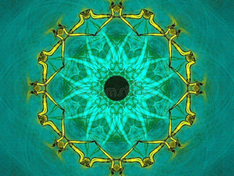 зеленое жидкостное мандала иллюстрация вектора