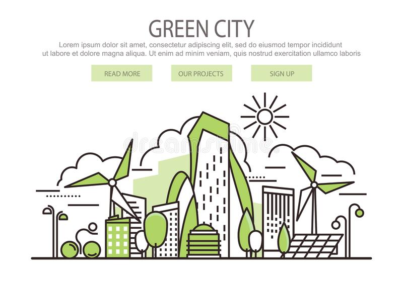 Зеленое знамя города иллюстрация вектора