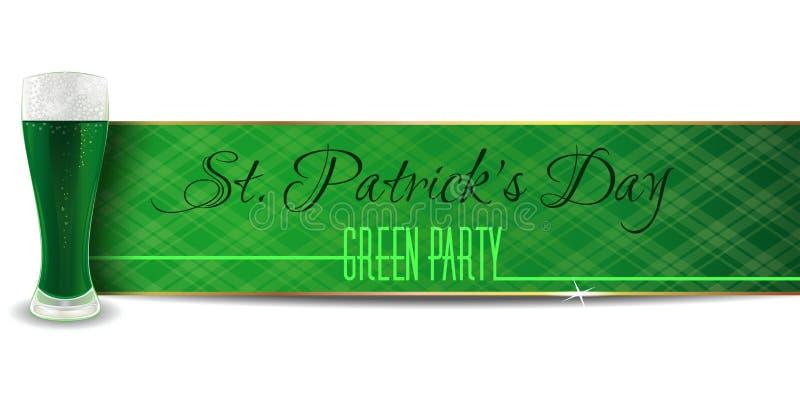 Зеленое знамя с пивом на день St Patricks иллюстрация штока