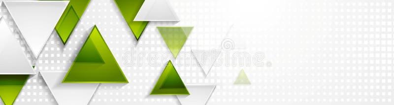 Зеленое и серое знамя сети техника треугольников иллюстрация вектора