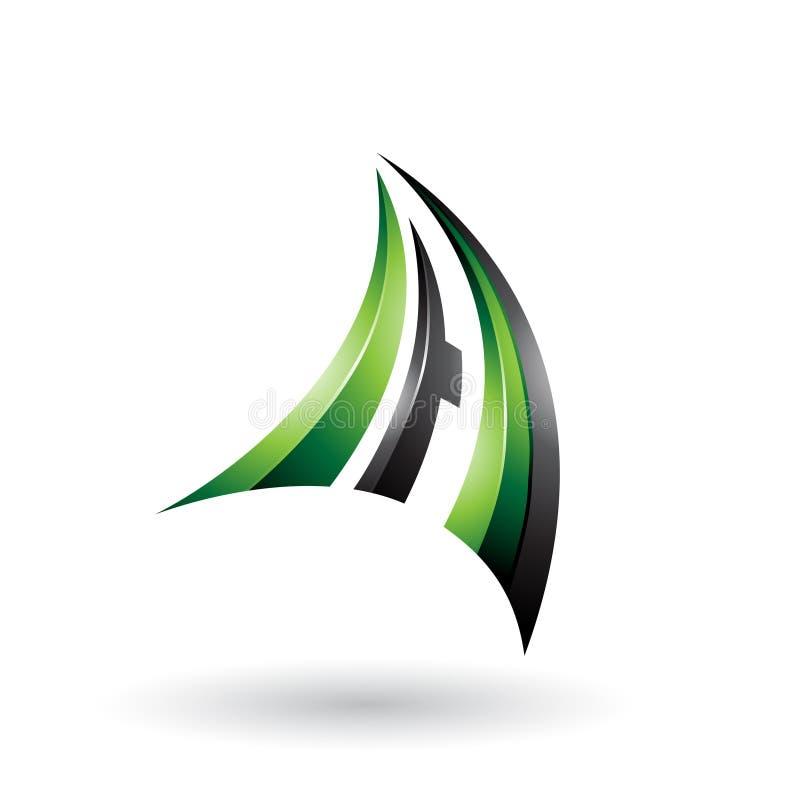 Зеленое и черное динамическое письмо a летания 3d изолировало на белой предпосылке иллюстрация штока