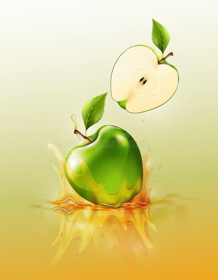 Зеленое падение яблока на выплеске сока и пульсации, реалистическом плодоовощ и югурте, прозрачных, иллюстрации вектора иллюстрация вектора