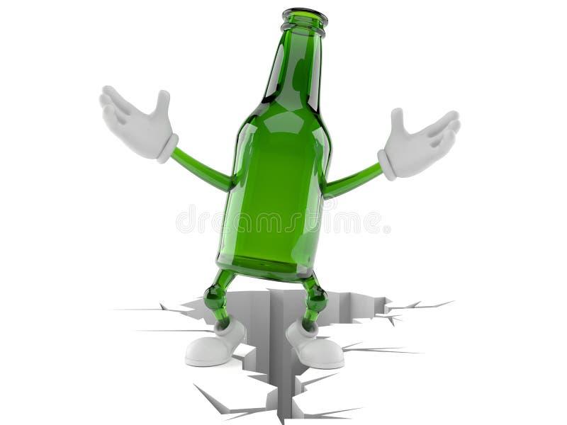 Зеленое положение характера стеклянной бутылки на треснутой земле иллюстрация штока