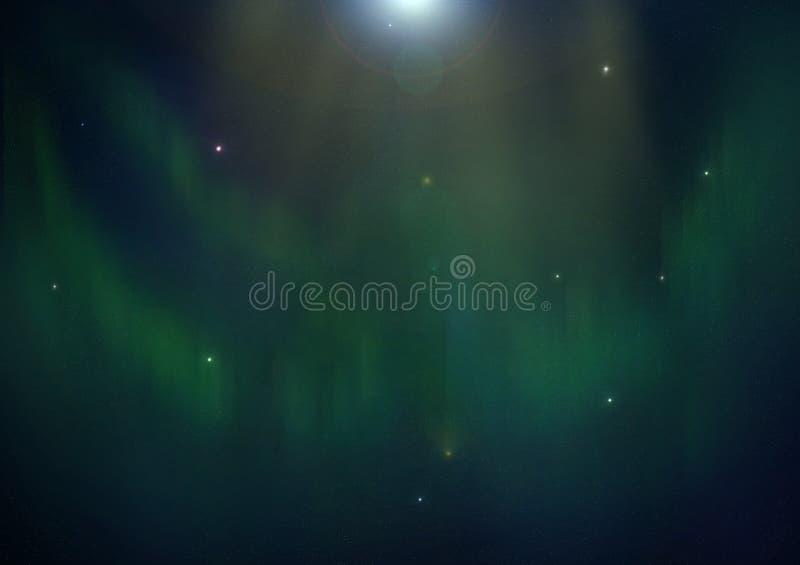 Зеленое приполюсное зарево с звездами, цифровая иллюстрация бесплатная иллюстрация