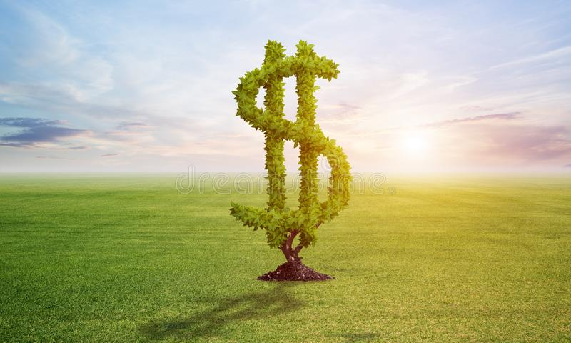 Зеленое растение в форме знака доллара растет на поле иллюстрация штока