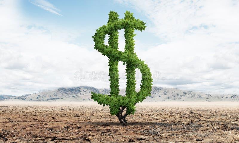 Зеленое растение в форме знака доллара растет иллюстрация вектора