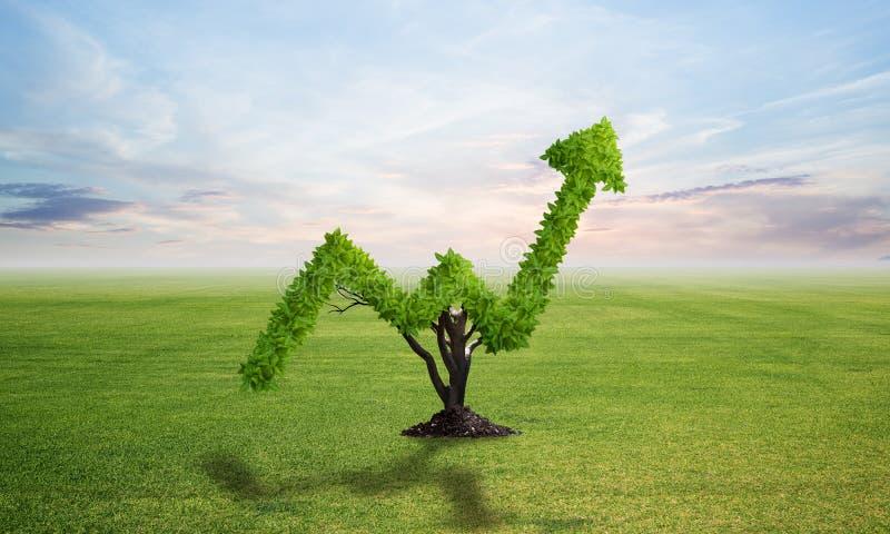 Зеленое растение в форме растет вверх тенденция на поле стоковое изображение rf