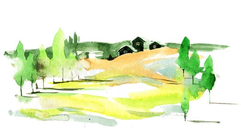 зеленое село иллюстрация штока