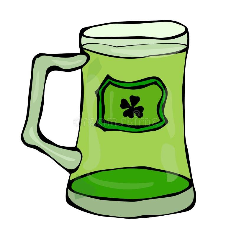 Зеленое стекло символа дня St Patricks пива с выплеском алкогольного напитка Нарисованная рука иллюстрации вектора Ирландии дня P бесплатная иллюстрация