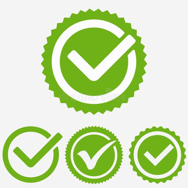 Зеленое тикание Марк Значок контрольной пометки Знак тикания Зеленый вектор утверждения тикания иллюстрация штока