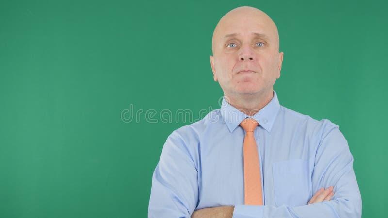 Зеленое экранное изображение с уверенным представлением менеджера бизнесмена в интервью стоковое фото rf