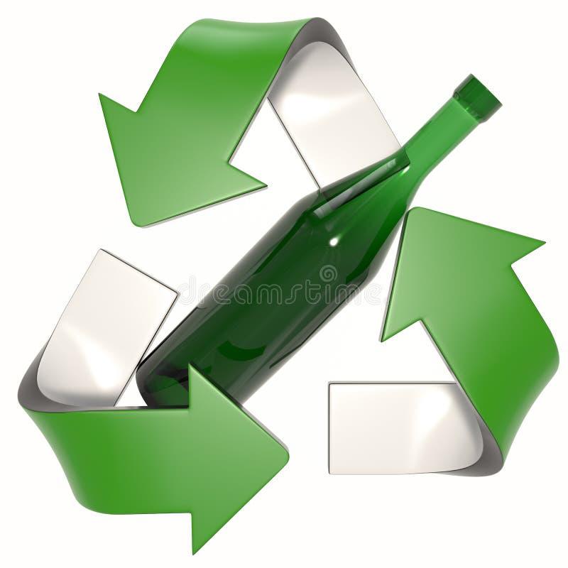 Зеленое 3D повторно используя логотип со стеклянной бутылкой бесплатная иллюстрация