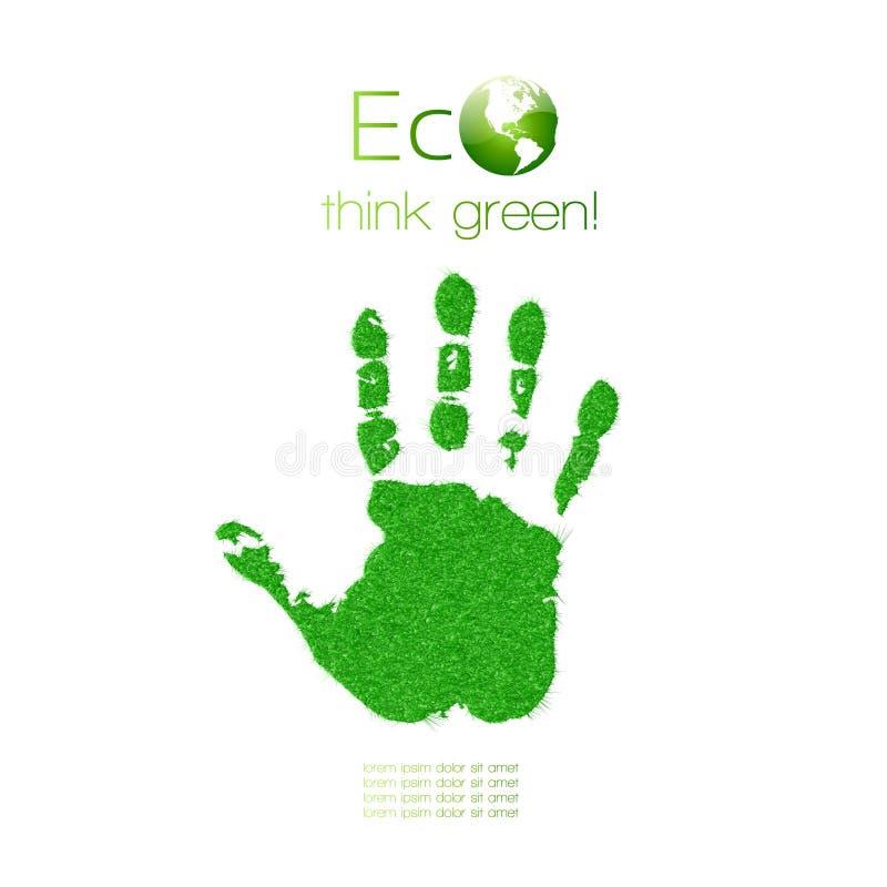 Зеленое handprint сделанное от травы. Думайте зеленый цвет. Ecol иллюстрация вектора