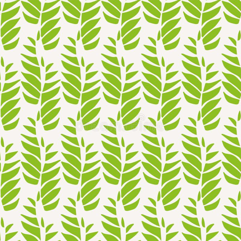 Зеленые абстрактные листья в расслабленном вертикальном геометрическом дизайне Безшовная картина вектора на светлой предпосылке б иллюстрация вектора