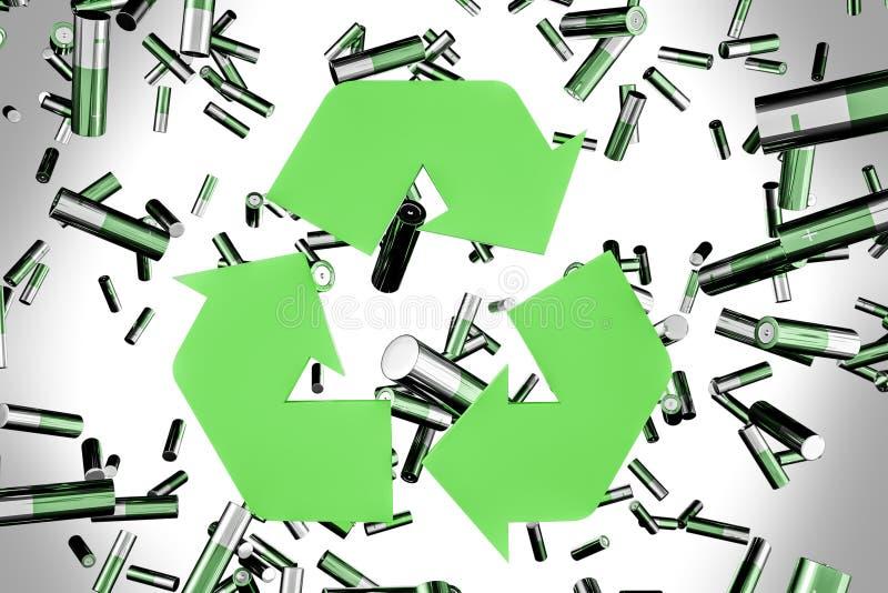 Зеленые батареи падая, повторно используют знак бесплатная иллюстрация