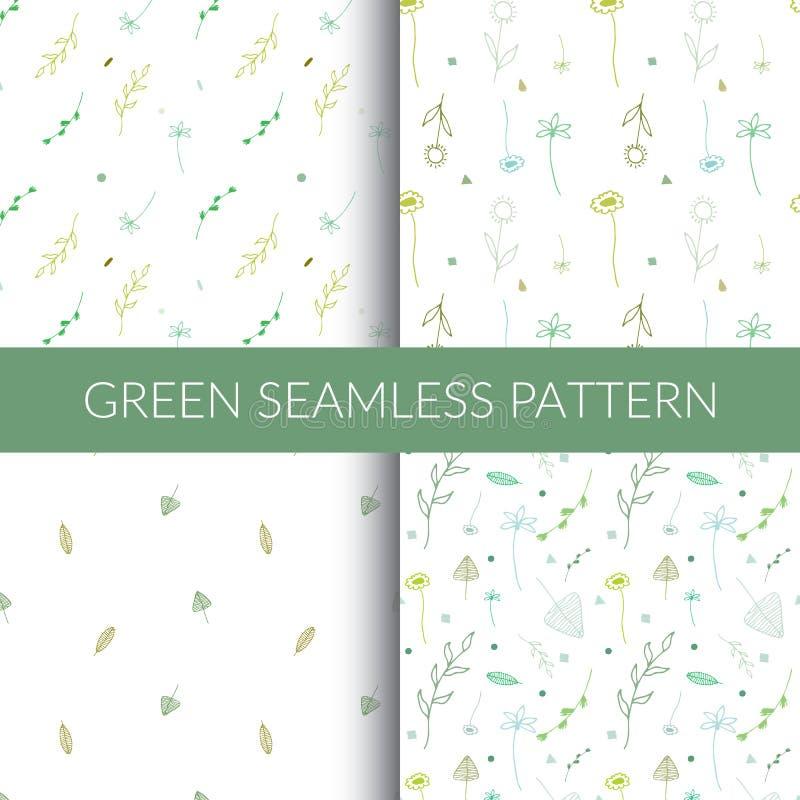 Зеленые безшовные картины Картины вручную стоковые изображения rf